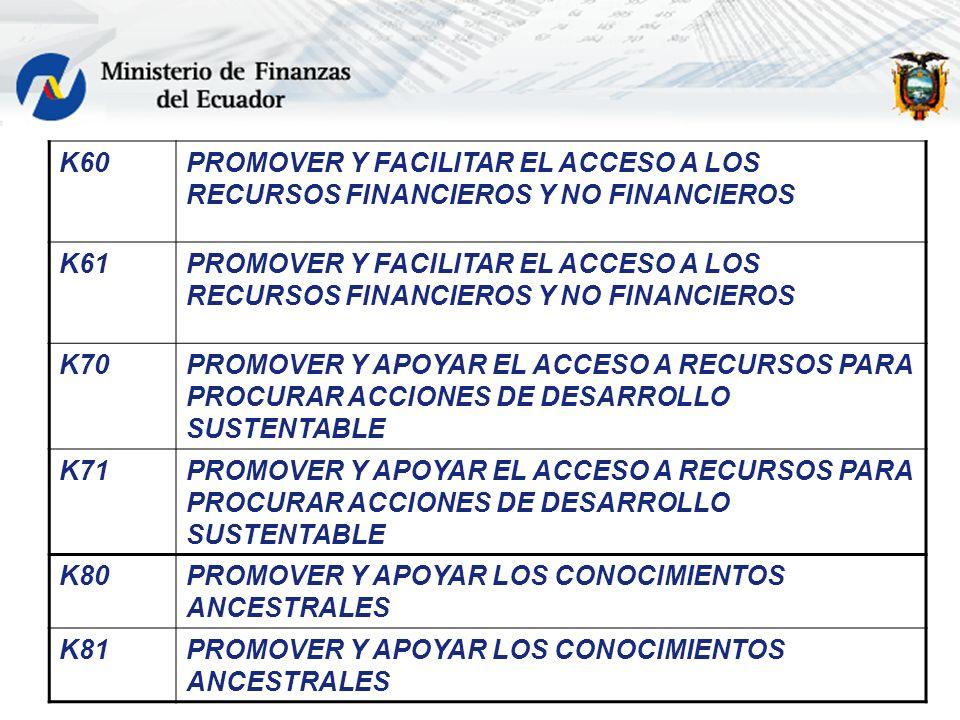 K60 PROMOVER Y FACILITAR EL ACCESO A LOS RECURSOS FINANCIEROS Y NO FINANCIEROS. K61. K70.
