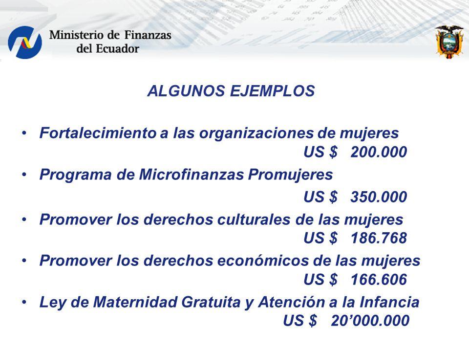 ALGUNOS EJEMPLOSFortalecimiento a las organizaciones de mujeres US $ 200.000. Programa de Microfinanzas Promujeres.