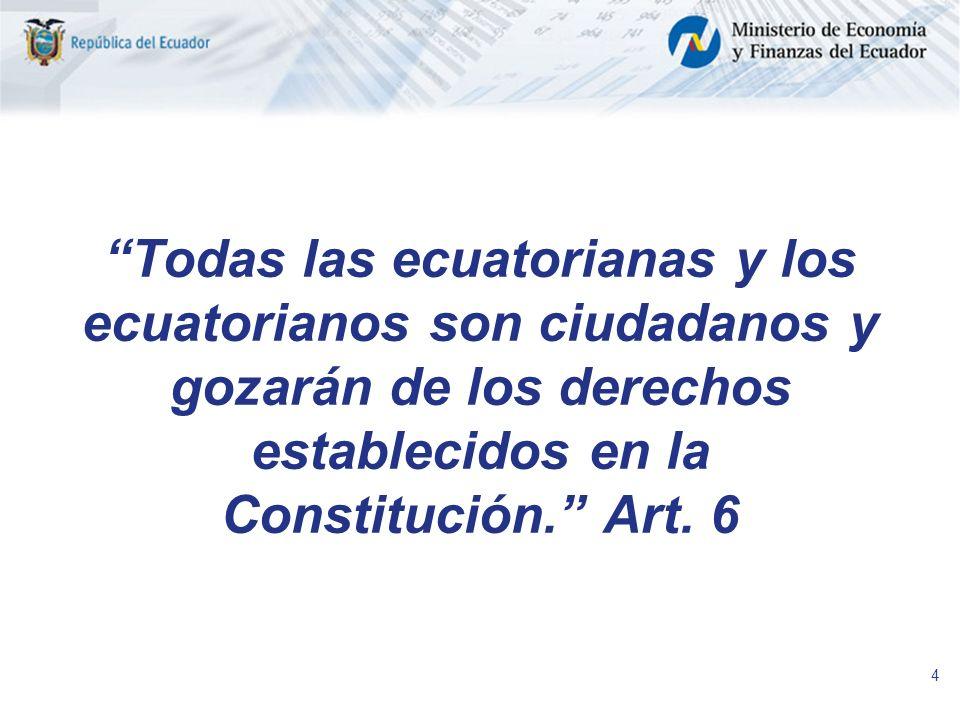 Todas las ecuatorianas y los ecuatorianos son ciudadanos y gozarán de los derechos establecidos en la Constitución. Art.