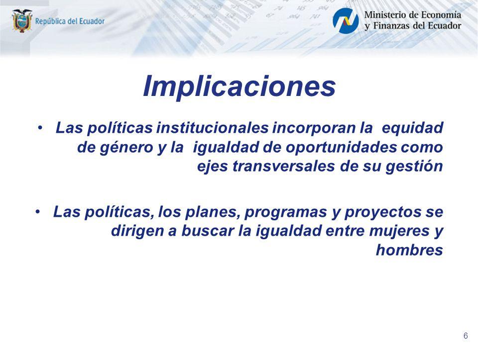 ImplicacionesLas políticas institucionales incorporan la equidad de género y la igualdad de oportunidades como ejes transversales de su gestión.