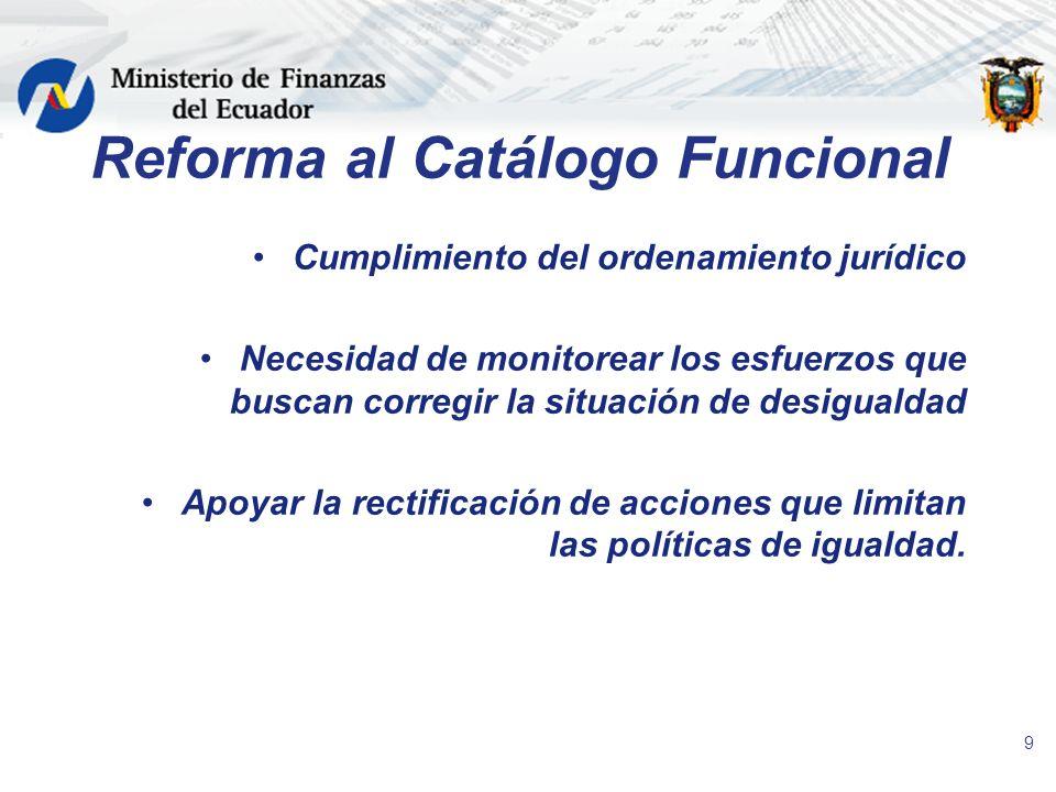 Reforma al Catálogo Funcional