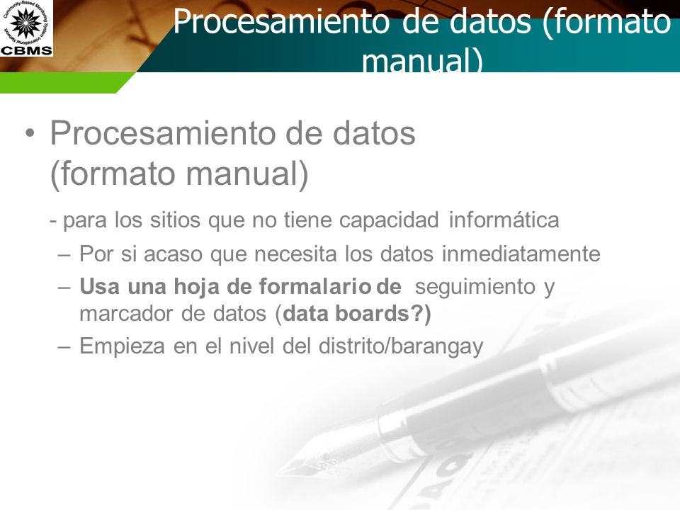 Procesamiento de datos (formato manual)