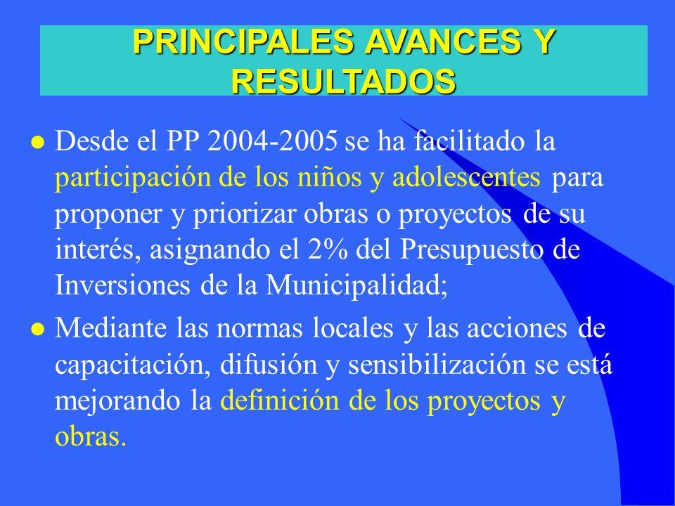 PRINCIPALES AVANCES Y RESULTADOS