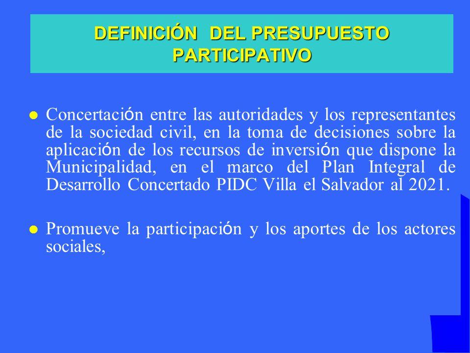 DEFINICIÓN DEL PRESUPUESTO PARTICIPATIVO