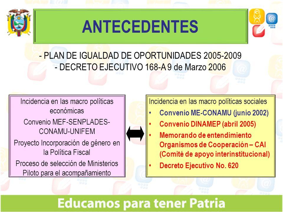 ANTECEDENTES - PLAN DE IGUALDAD DE OPORTUNIDADES 2005-2009
