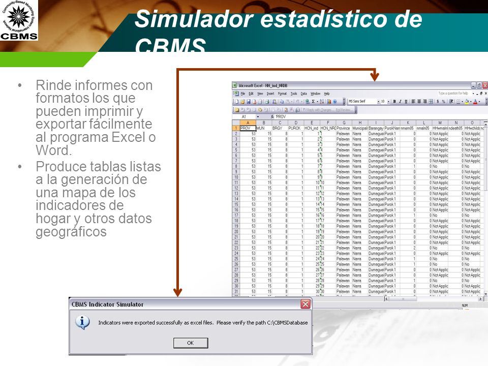 Simulador estadístico de CBMS