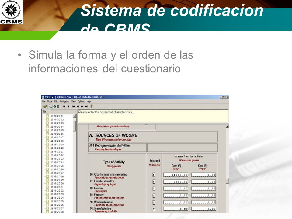 Sistema de codificacion de CBMS