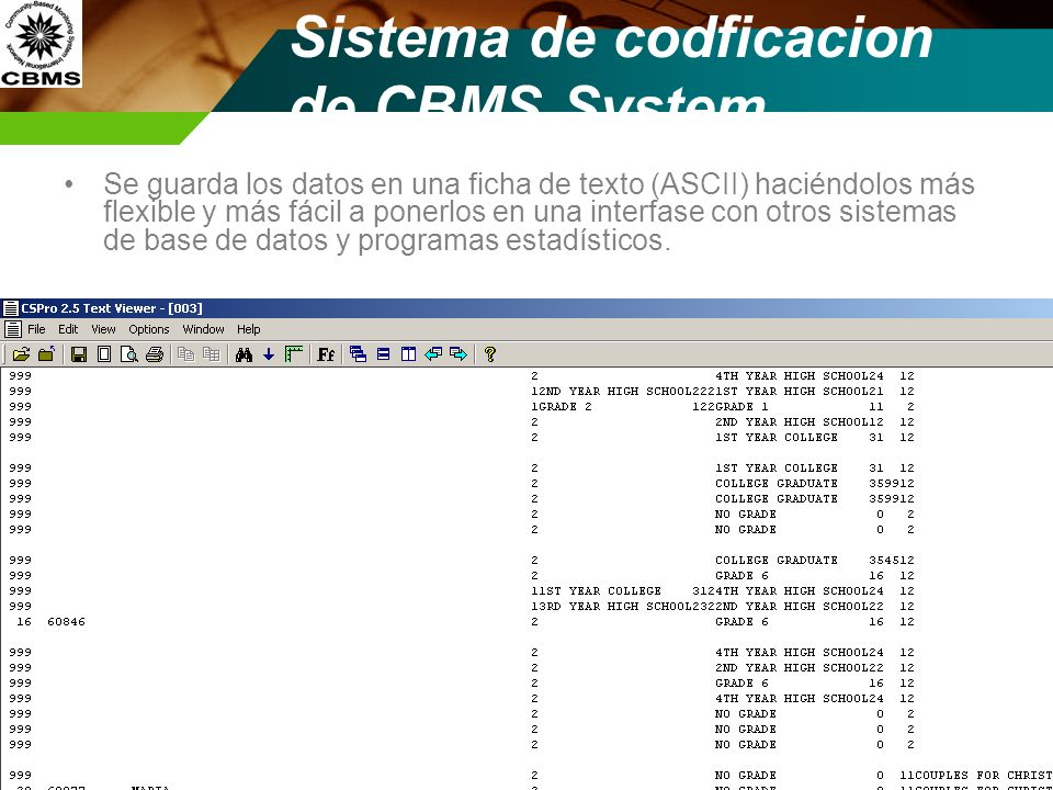 Sistema de codficacion de CBMS System