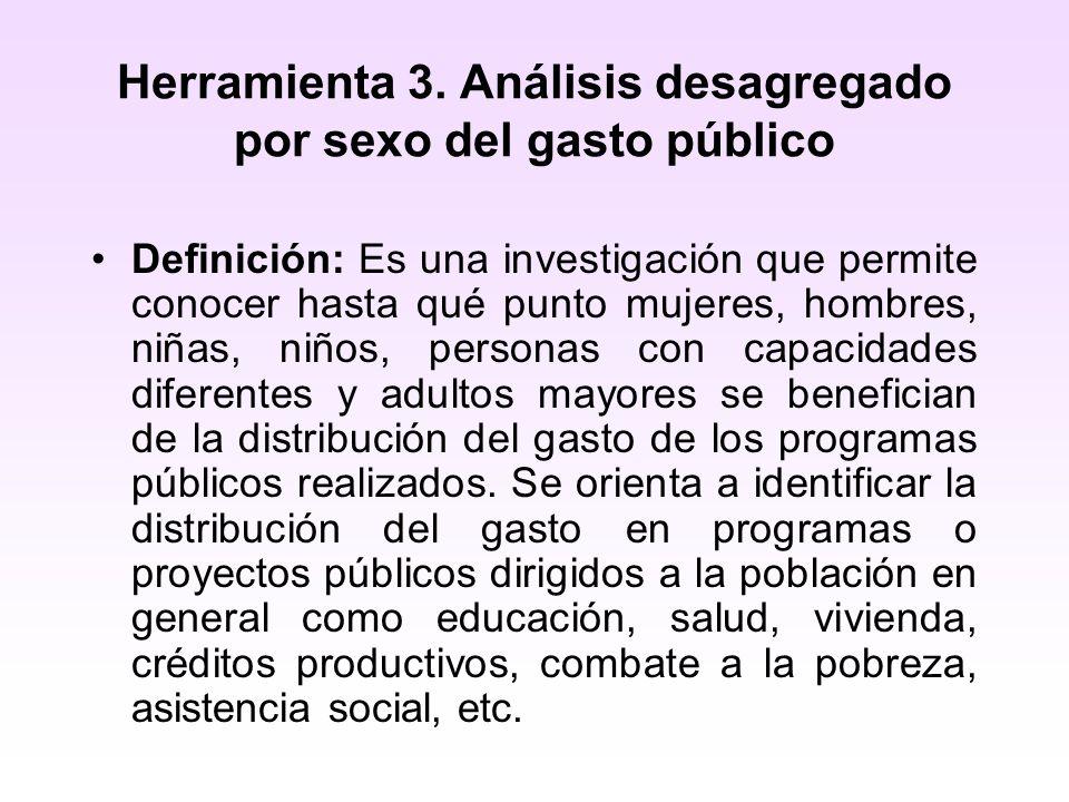 Herramienta 3. Análisis desagregado por sexo del gasto público