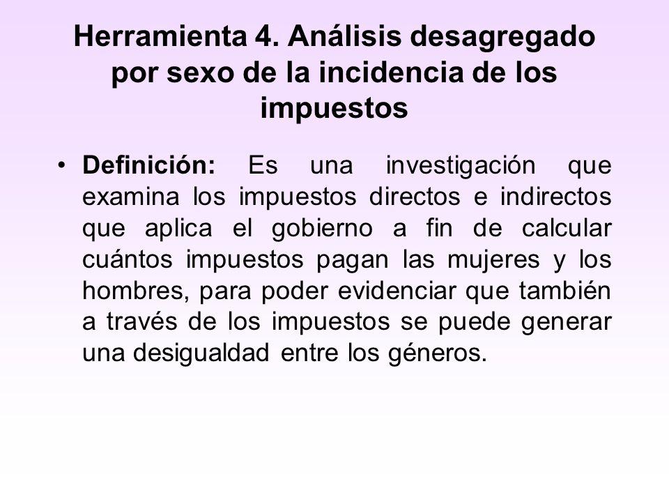 Herramienta 4. Análisis desagregado por sexo de la incidencia de los impuestos