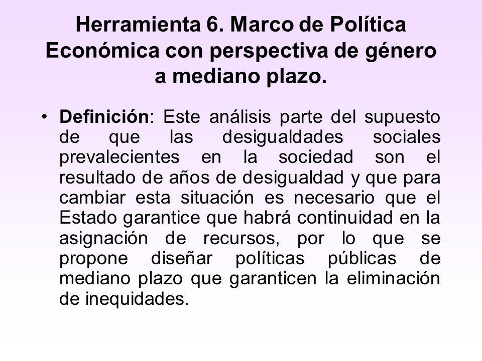 Herramienta 6. Marco de Política Económica con perspectiva de género a mediano plazo.