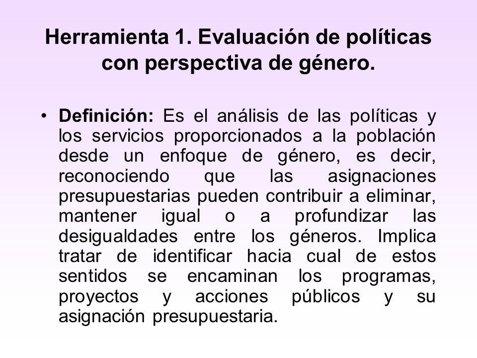 Herramienta 1. Evaluación de políticas con perspectiva de género.