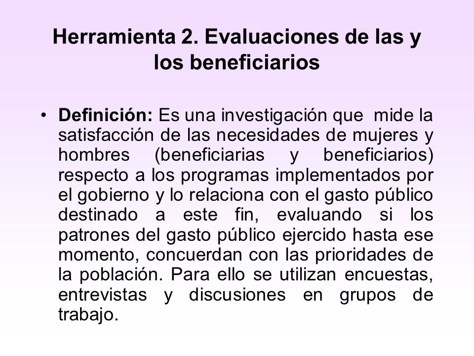Herramienta 2. Evaluaciones de las y los beneficiarios