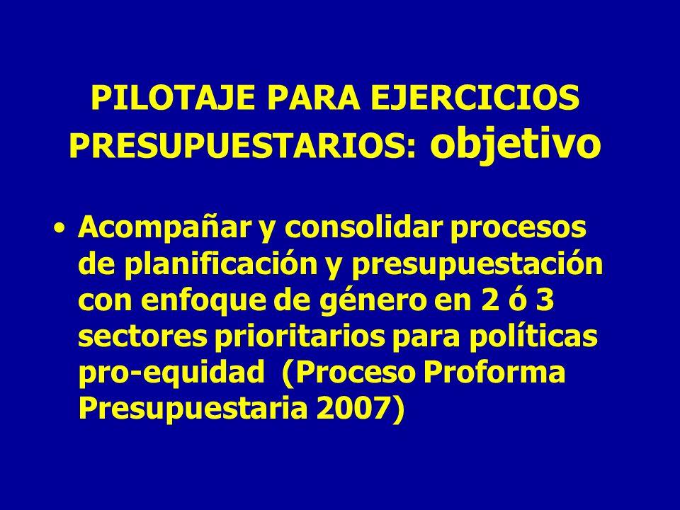 PILOTAJE PARA EJERCICIOS PRESUPUESTARIOS: objetivo