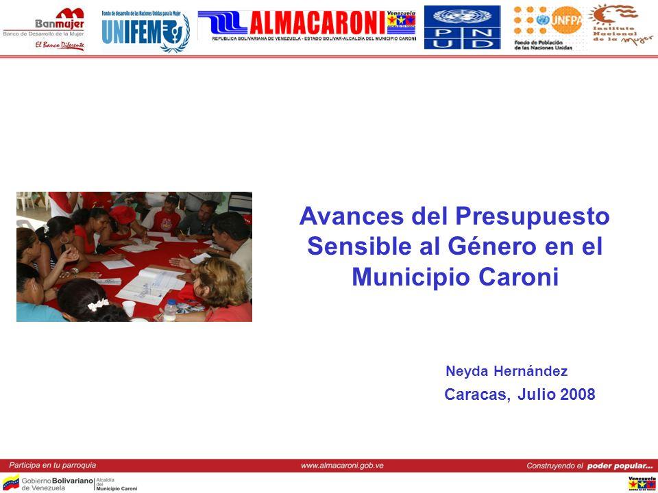 Avances del Presupuesto Sensible al Género en el Municipio Caroni