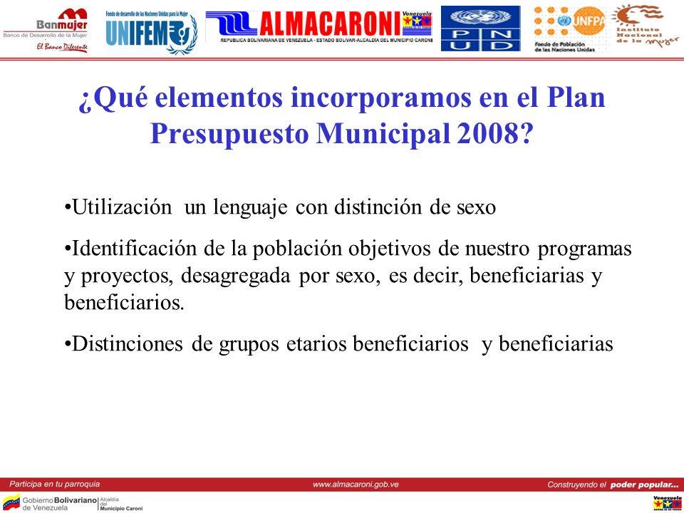 ¿Qué elementos incorporamos en el Plan Presupuesto Municipal 2008