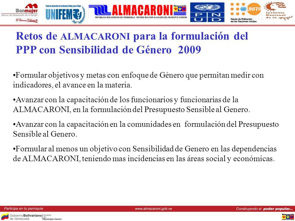 Retos de ALMACARONI para la formulación del PPP con Sensibilidad de Género 2009
