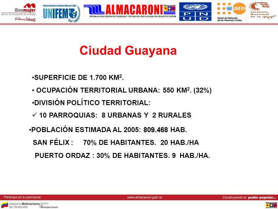 Ciudad Guayana SUPERFICIE DE 1.700 KM2.