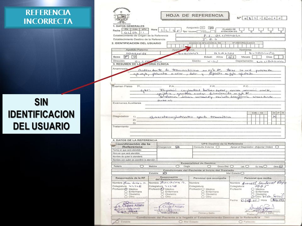 REFERENCIA INCORRECTA SIN IDENTIFICACION DEL USUARIO