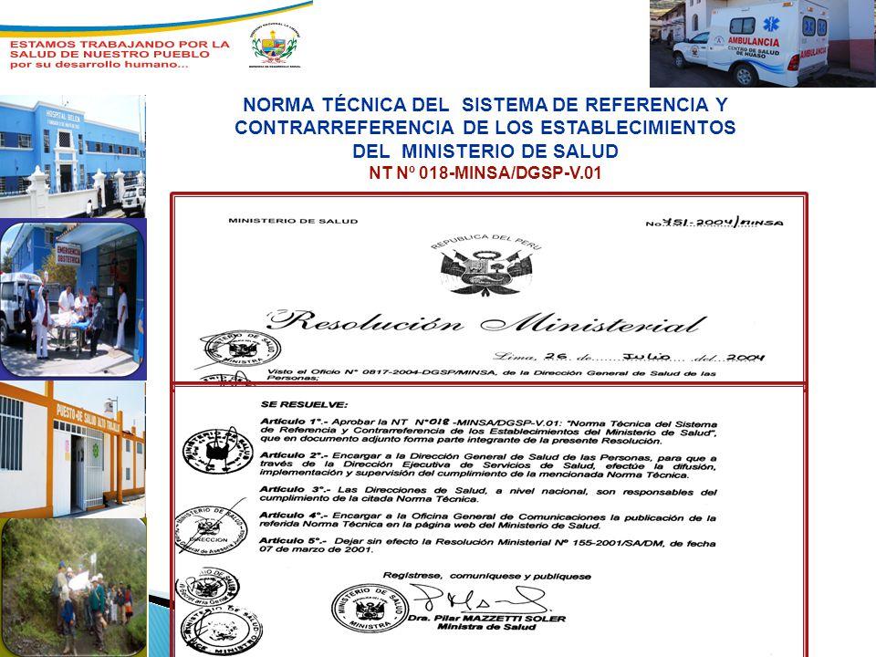 NORMA TÉCNICA DEL SISTEMA DE REFERENCIA Y CONTRARREFERENCIA DE LOS ESTABLECIMIENTOS DEL MINISTERIO DE SALUD