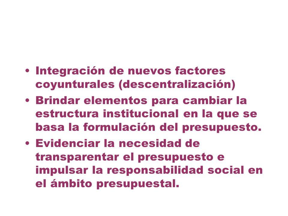 Integración de nuevos factores coyunturales (descentralización)