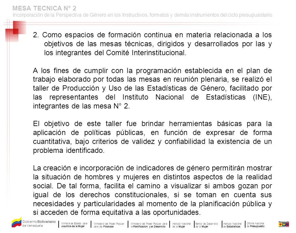 MESA TECNICA N° 2 Incorporación de la Perspectiva de Género en los Instructivos, formatos y demás instrumentos del ciclo presupuestario.