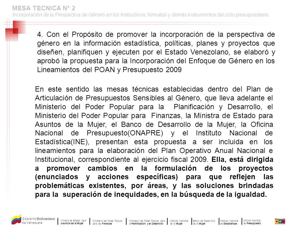 MESA TECNICA N° 2Incorporación de la Perspectiva de Género en los Instructivos, formatos y demás instrumentos del ciclo presupuestario.