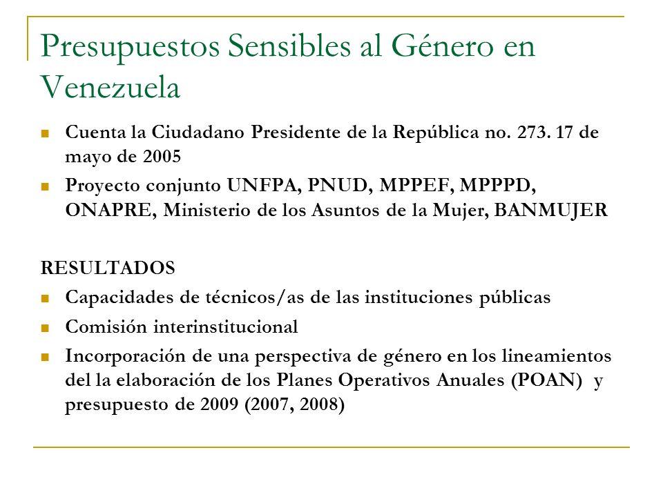 Presupuestos Sensibles al Género en Venezuela