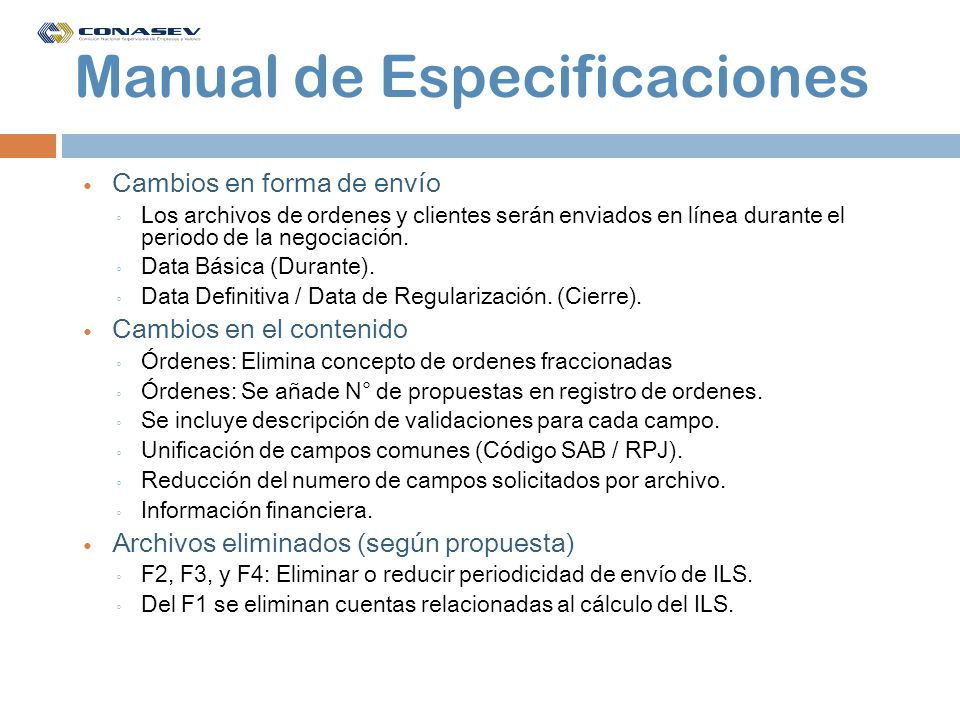 Manual de Especificaciones