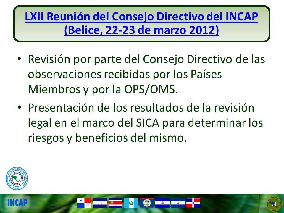 LXII Reunión del Consejo Directivo del INCAP (Belice, 22-23 de marzo 2012)