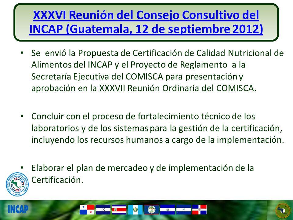 XXXVI Reunión del Consejo Consultivo del INCAP (Guatemala, 12 de septiembre 2012)