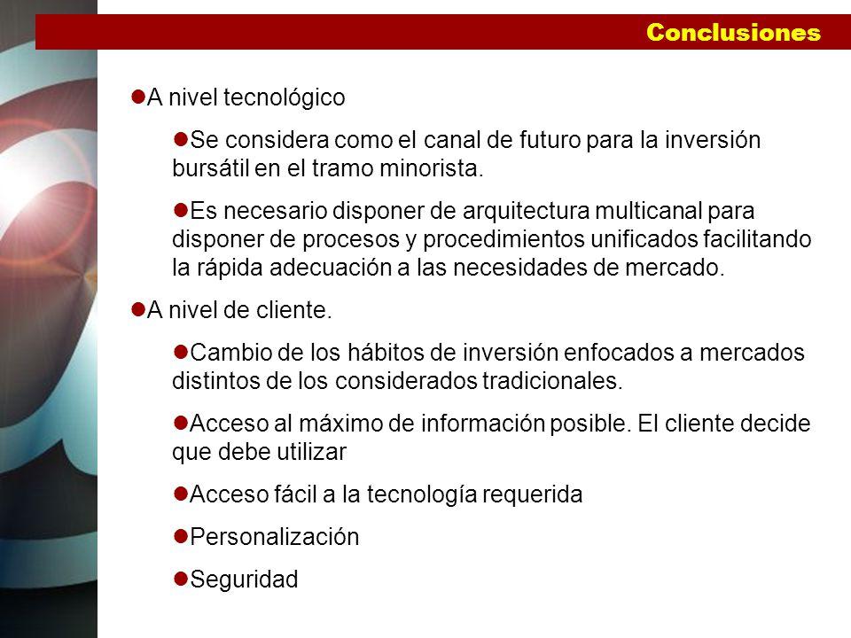 Conclusiones A nivel tecnológico. Se considera como el canal de futuro para la inversión bursátil en el tramo minorista.