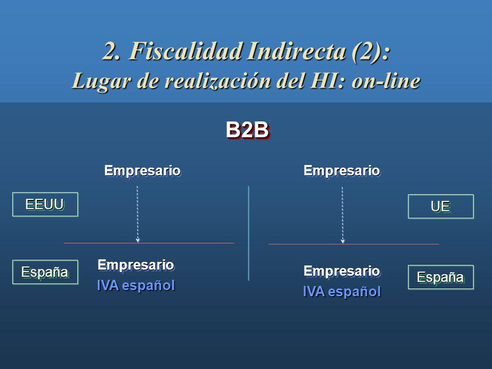 2. Fiscalidad Indirecta (2): Lugar de realización del HI: on-line