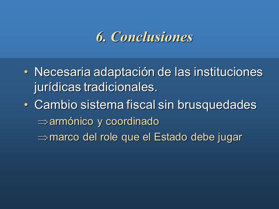 6. Conclusiones Necesaria adaptación de las instituciones jurídicas tradicionales. Cambio sistema fiscal sin brusquedades.
