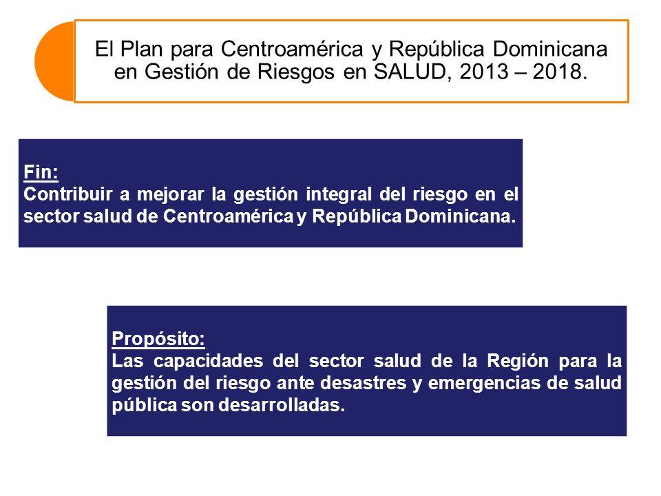 El Plan para Centroamérica y República Dominicana en Gestión de Riesgos en SALUD, 2013 – 2018.