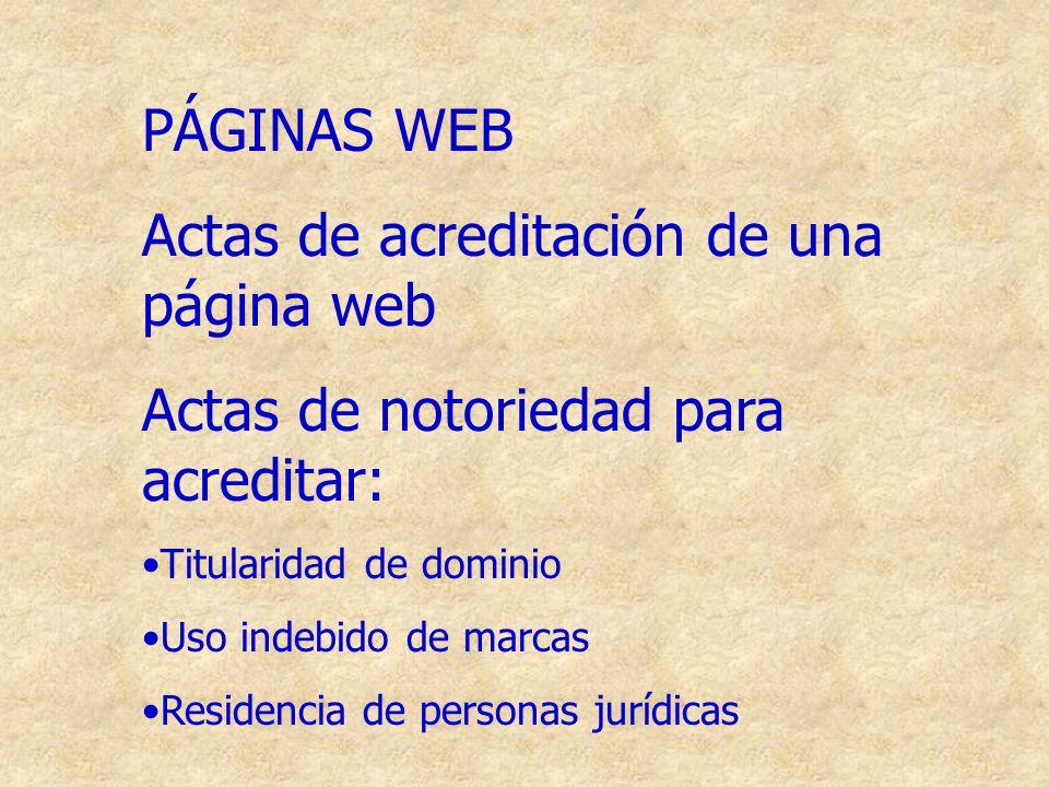 Actas de acreditación de una página web