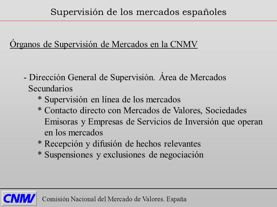 Supervisión de los mercados españoles