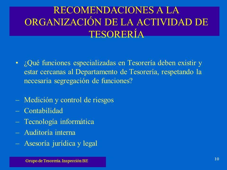 RECOMENDACIONES A LA ORGANIZACIÓN DE LA ACTIVIDAD DE TESORERÍA