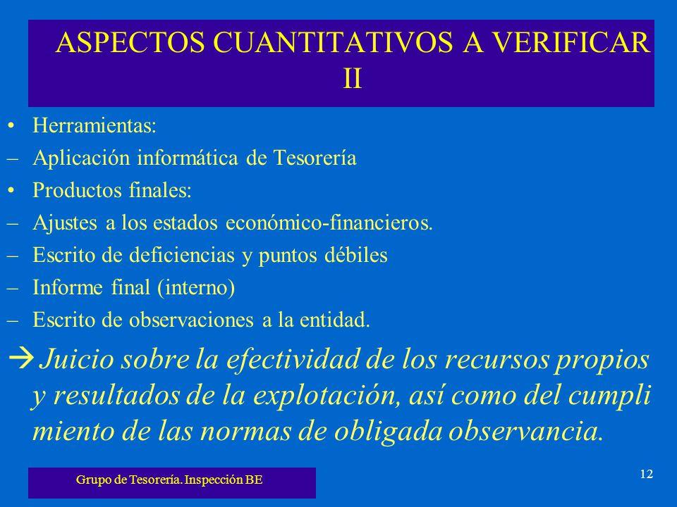 ASPECTOS CUANTITATIVOS A VERIFICAR II