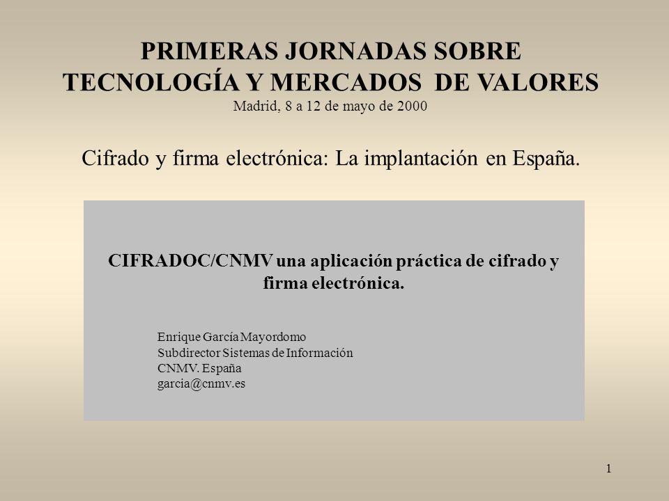 PRIMERAS JORNADAS SOBRE TECNOLOGÍA Y MERCADOS DE VALORES