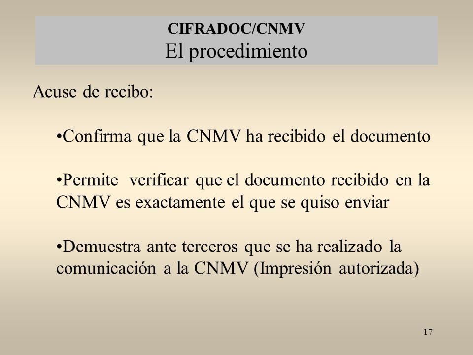 CIFRADOC/CNMV El procedimiento