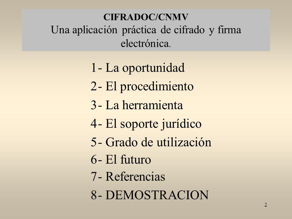 CIFRADOC/CNMV Una aplicación práctica de cifrado y firma electrónica.