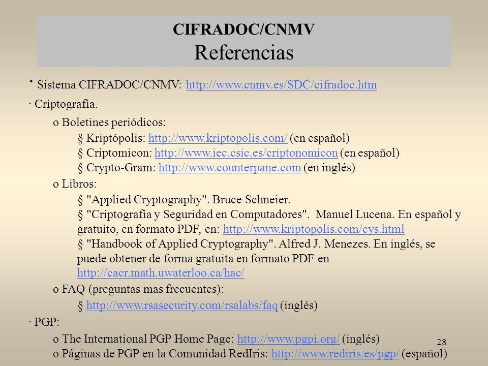 CIFRADOC/CNMV Referencias