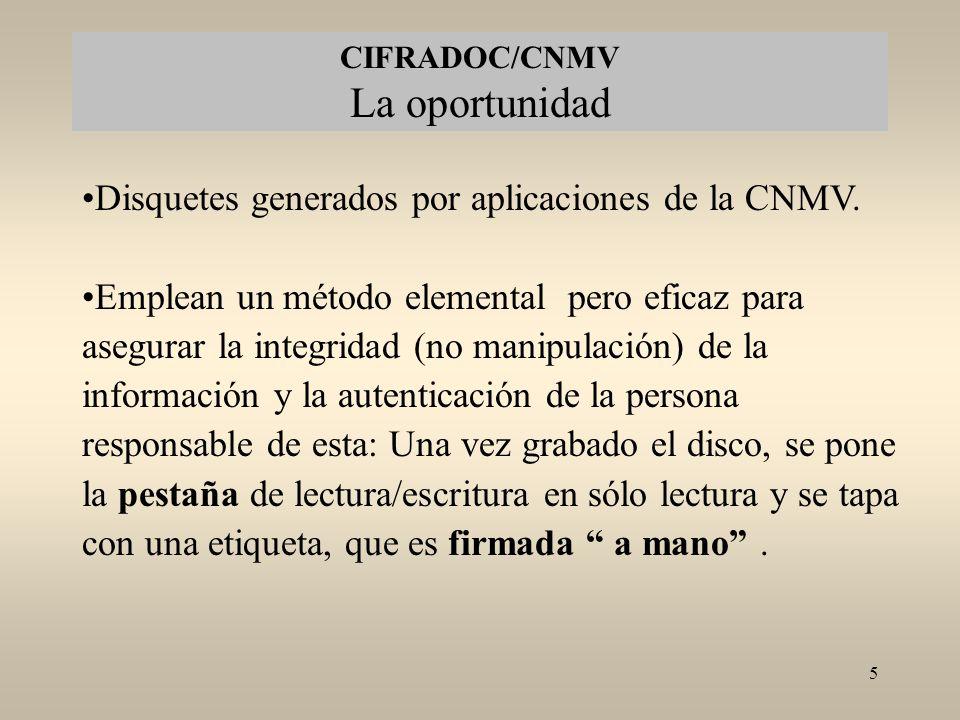 CIFRADOC/CNMV La oportunidad