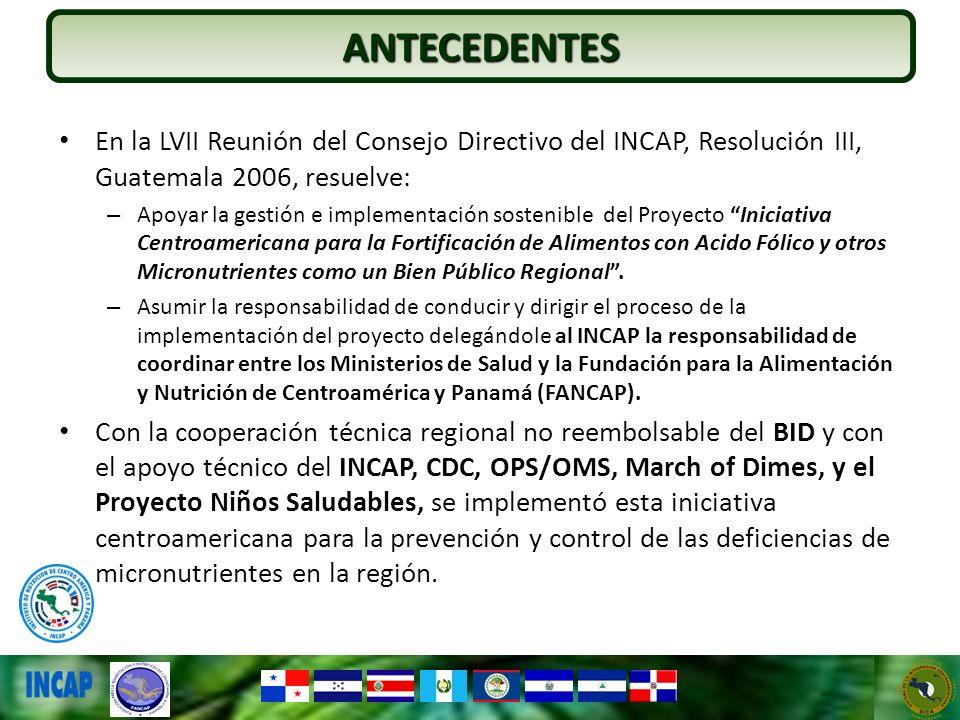 ANTECEDENTESEn la LVII Reunión del Consejo Directivo del INCAP, Resolución III, Guatemala 2006, resuelve: