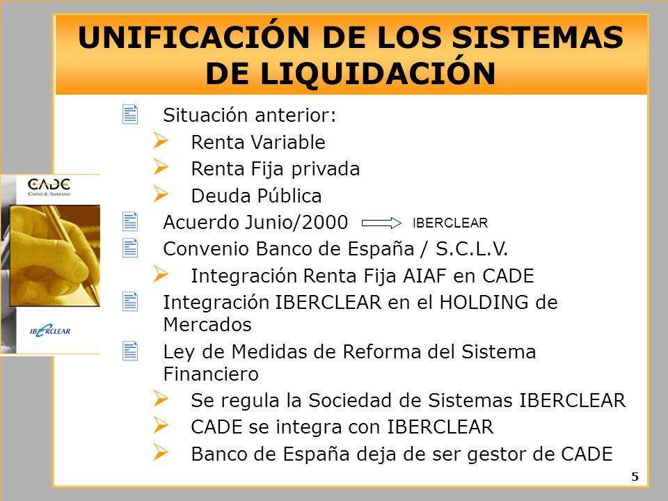 UNIFICACIÓN DE LOS SISTEMAS DE LIQUIDACIÓN
