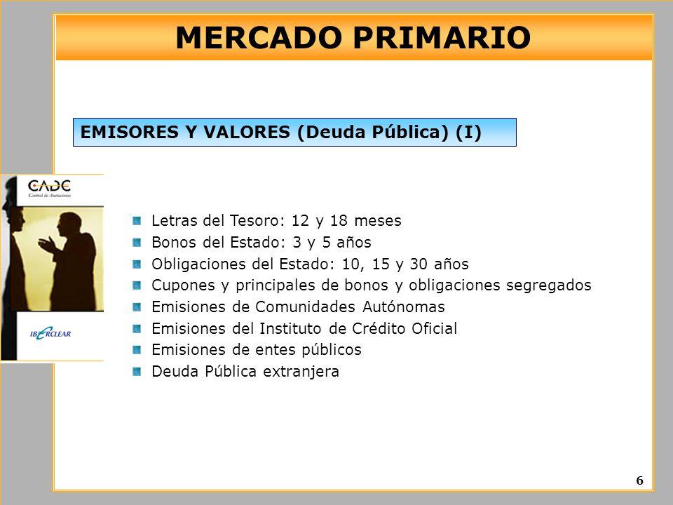 MERCADO PRIMARIO EMISORES Y VALORES (Deuda Pública) (I)