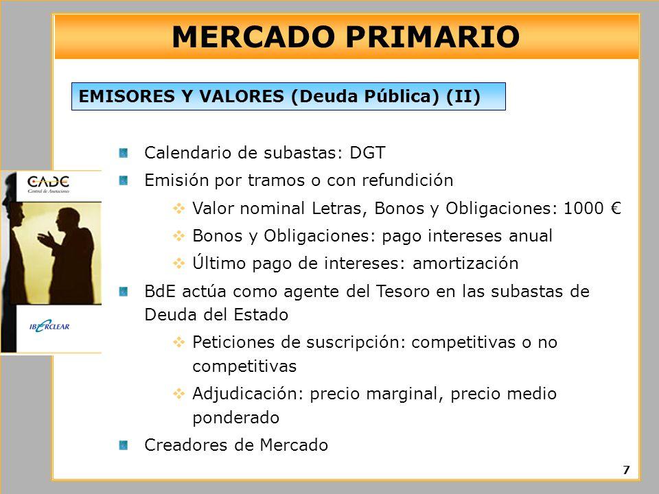 MERCADO PRIMARIO EMISORES Y VALORES (Deuda Pública) (II)