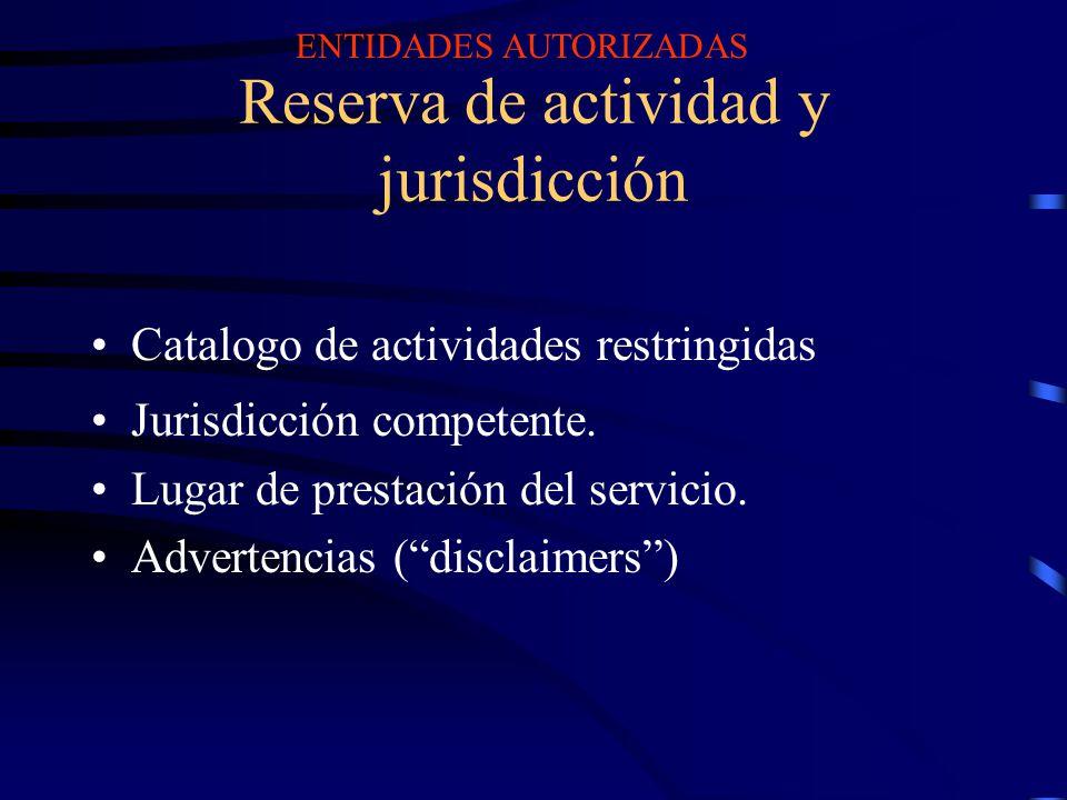 Reserva de actividad y jurisdicción