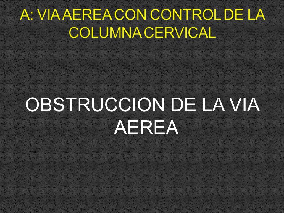 A: VIA AEREA CON CONTROL DE LA COLUMNA CERVICAL
